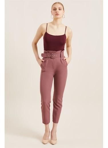 Z Giyim Kadın  Mavi  Kemerli Yüksek Bel Kumaş Pantolon Kırmızı